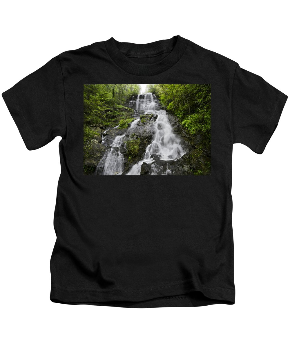 Appalachia Kids T-Shirt featuring the photograph Amicalola Falls by Debra and Dave Vanderlaan