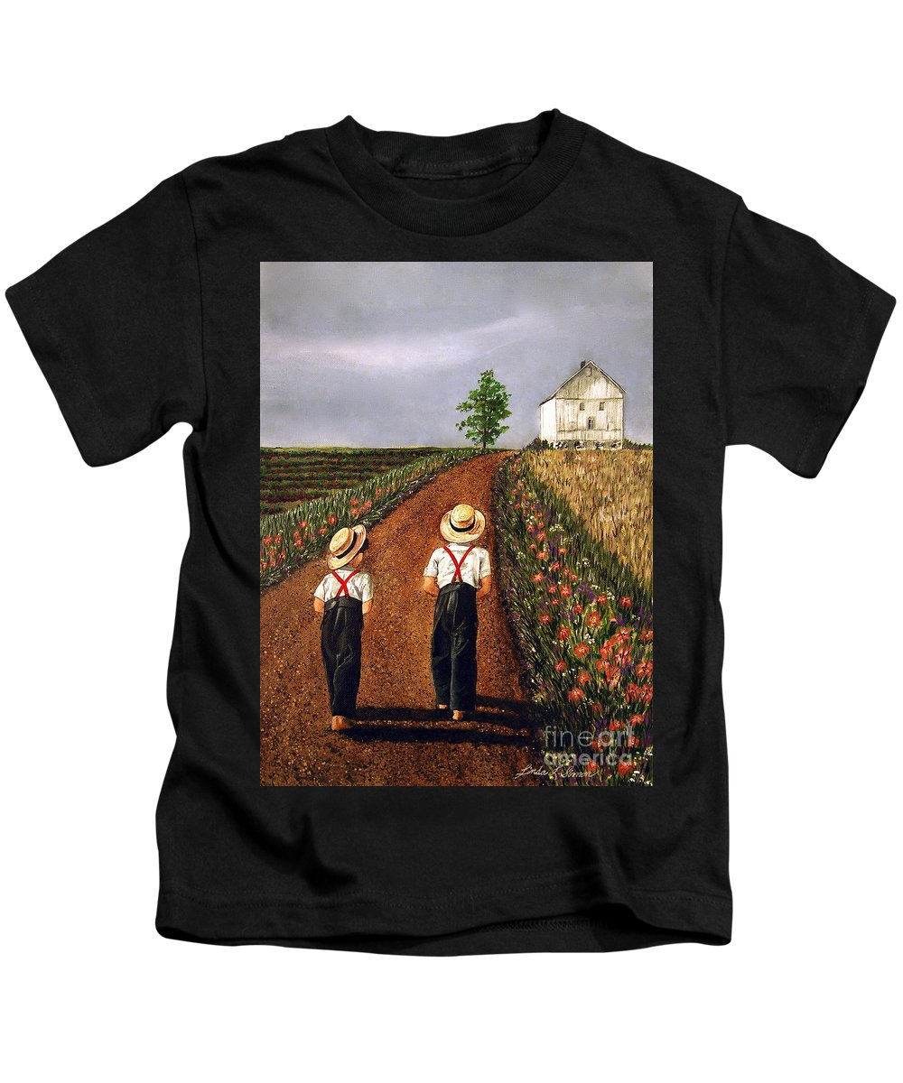 Lifestyle Kids T-Shirt featuring the painting Amish Road by Linda Simon