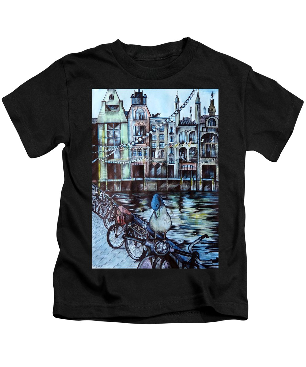 Travel Kids T-Shirt featuring the drawing Amsterdam by Anna Duyunova