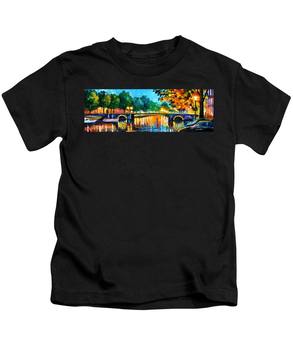 Oil Paintings Kids T-Shirt featuring the painting Amsterdam-early Morning - Palette Knife Oil Painting On Canvas By Leonid Afremov by Leonid Afremov