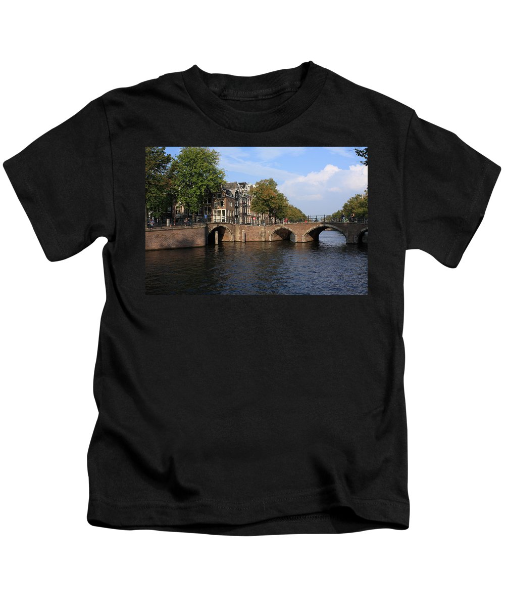 Holland Kids T-Shirt featuring the photograph Amsterdam Stone Arch Bridge by Aidan Moran