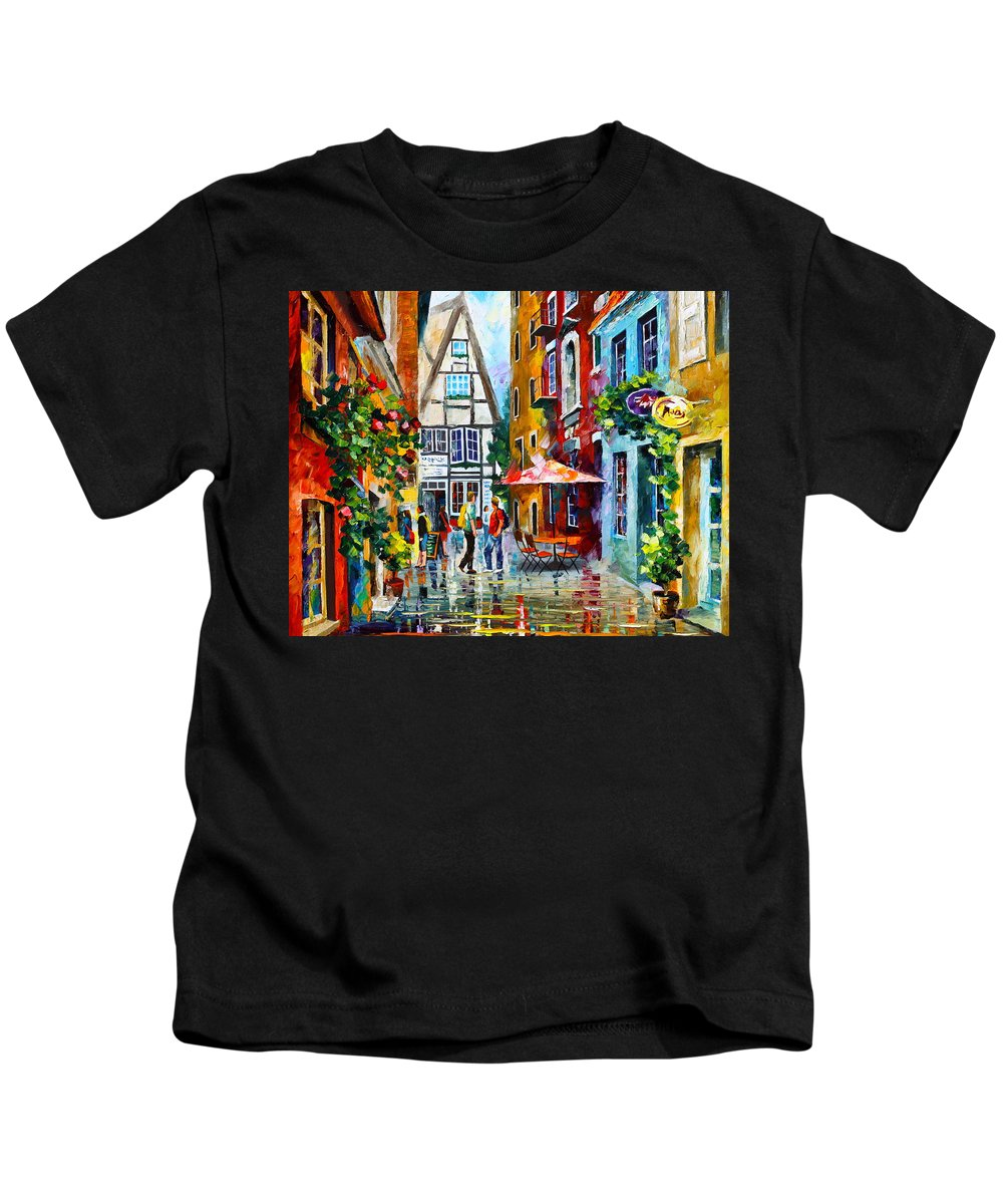 Afremov Kids T-Shirt featuring the painting Amsterdam Street by Leonid Afremov