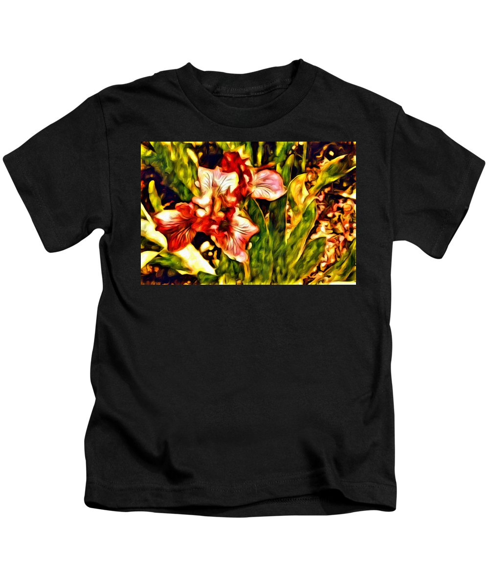 Iris Kids T-Shirt featuring the photograph An Iris View by Alice Gipson