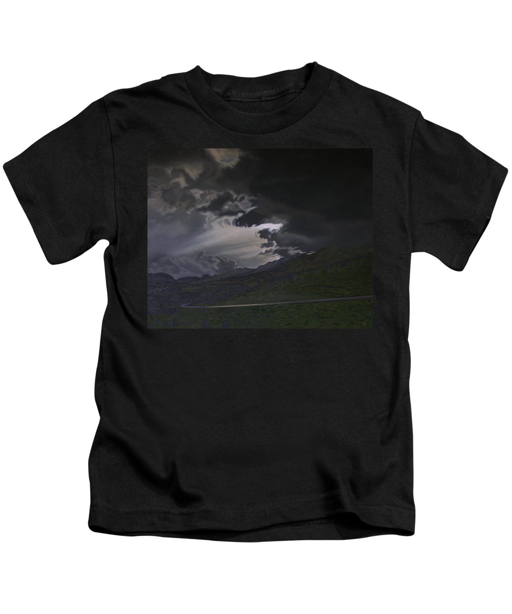 Landscape Kids T-Shirt featuring the painting An Opening by Thu Nguyen
