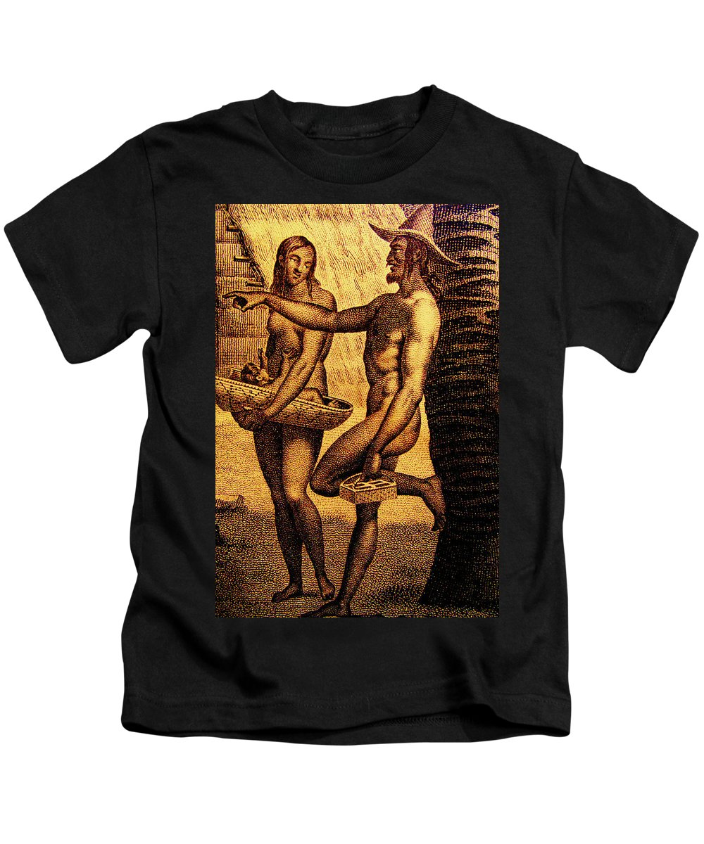 Chamorro Kids T-Shirt featuring the mixed media Ancient Chamorro Society 2 by Michelle Dallocchio
