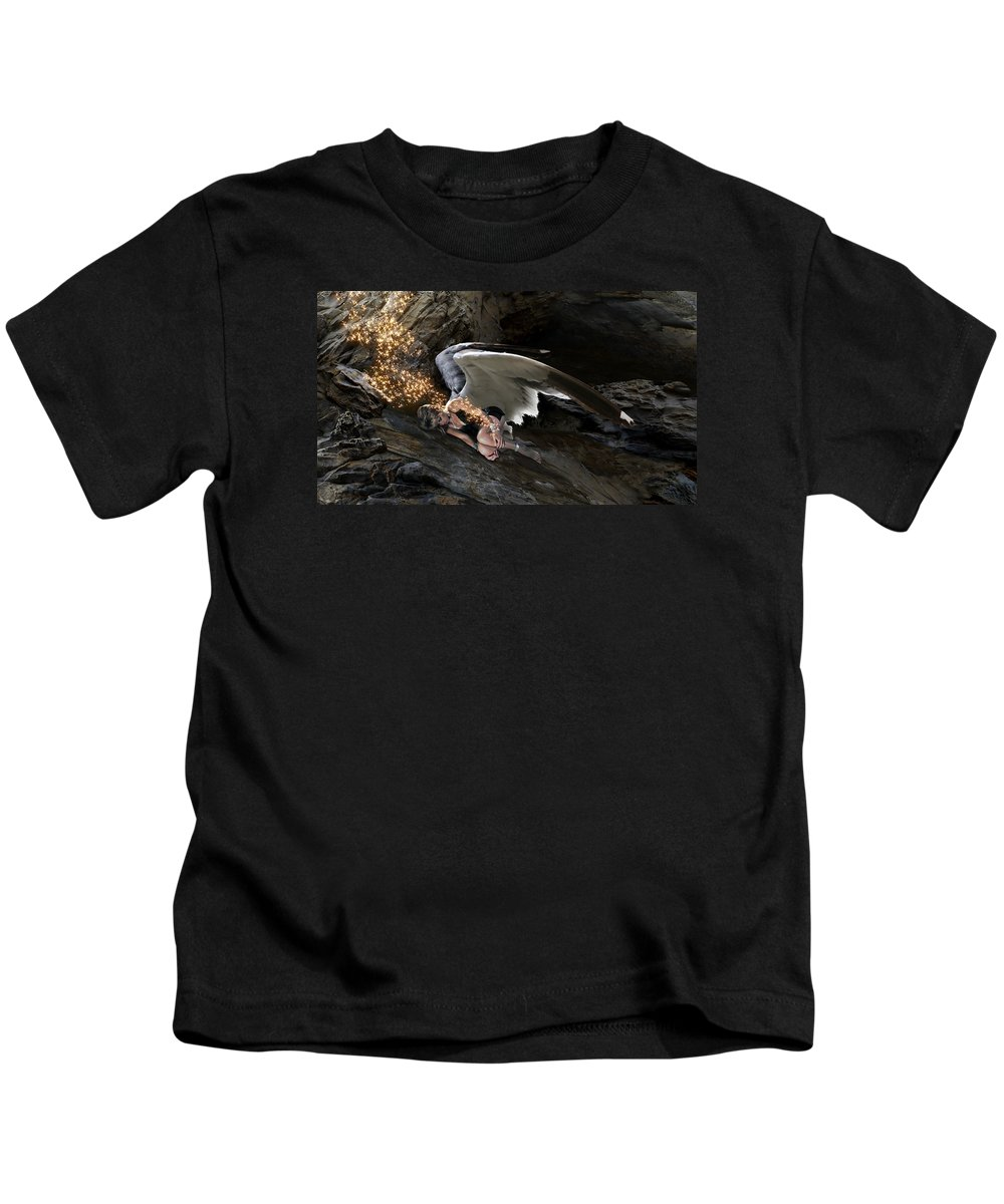Alex-calderon Kids T-Shirt featuring the photograph Angel- Give Your Worries To The Father by Acropolis De Versailles
