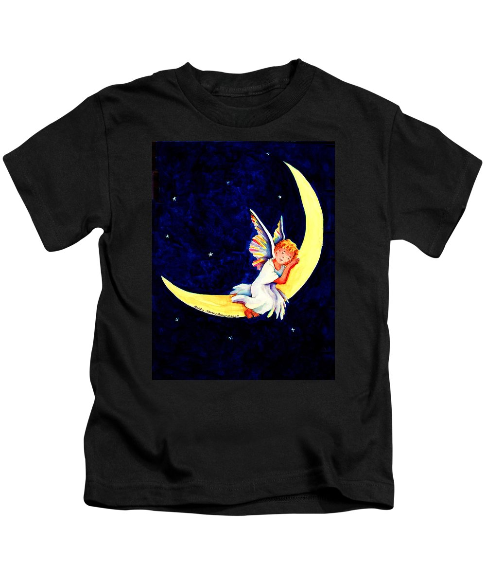 Angel Kids T-Shirt featuring the painting Angel On The Moon by Sally Storey Jones