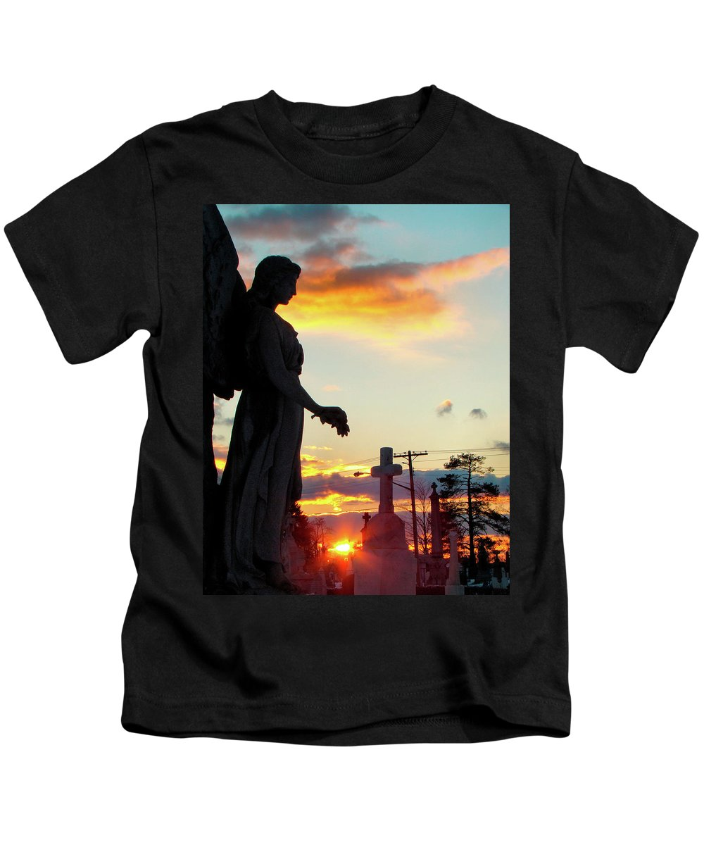 Silhouette Kids T-Shirt featuring the photograph Angel Silhouette In Burst Of Colors by Gothicrow Images