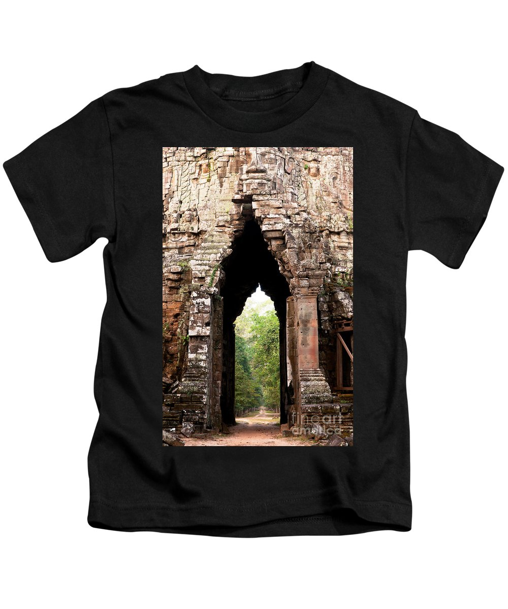 Angkor Kids T-Shirt featuring the photograph Angkor Thom East Gate 02 by Rick Piper Photography