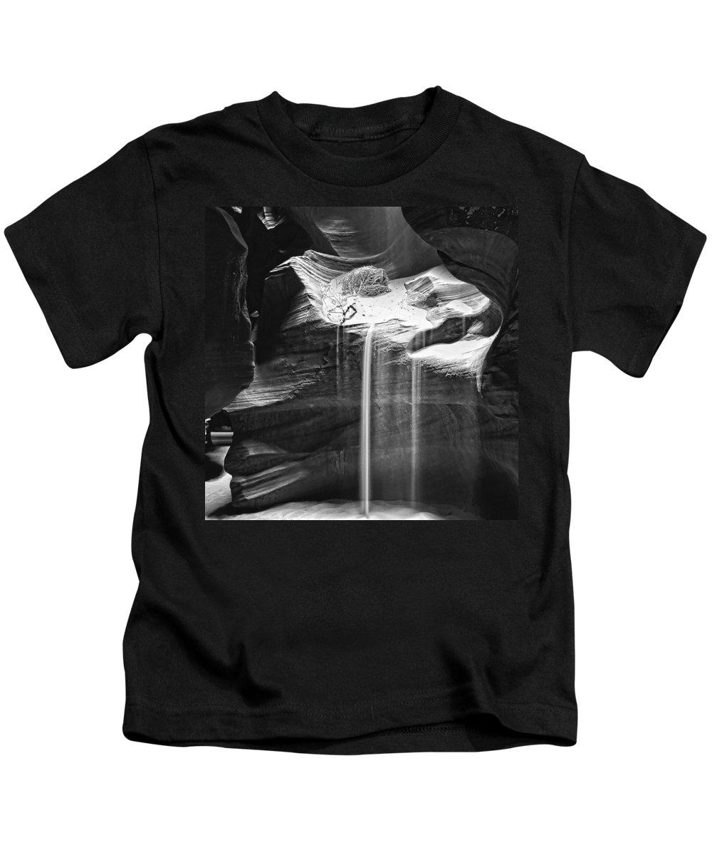 Antelope Canyon Sand Fall Kids T-Shirt featuring the photograph Antelope Canyon Sand Fall by Wes and Dotty Weber