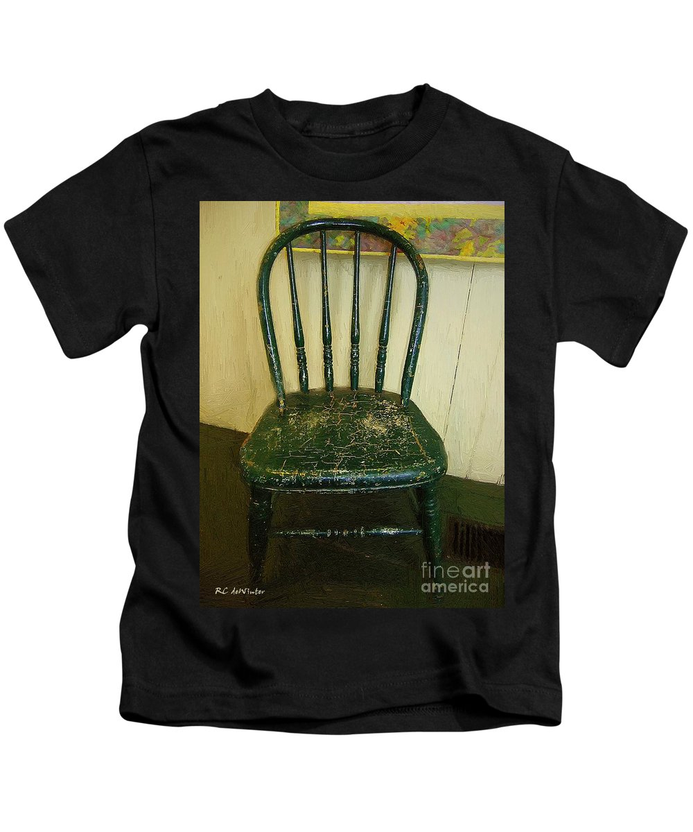 Americana Kids T-Shirt featuring the painting Antique Child's Chair With Quilt by RC DeWinter