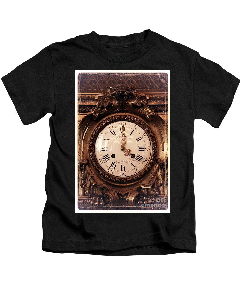Antique Kids T-Shirt featuring the photograph Antique Clock In Sepia by Carol Groenen