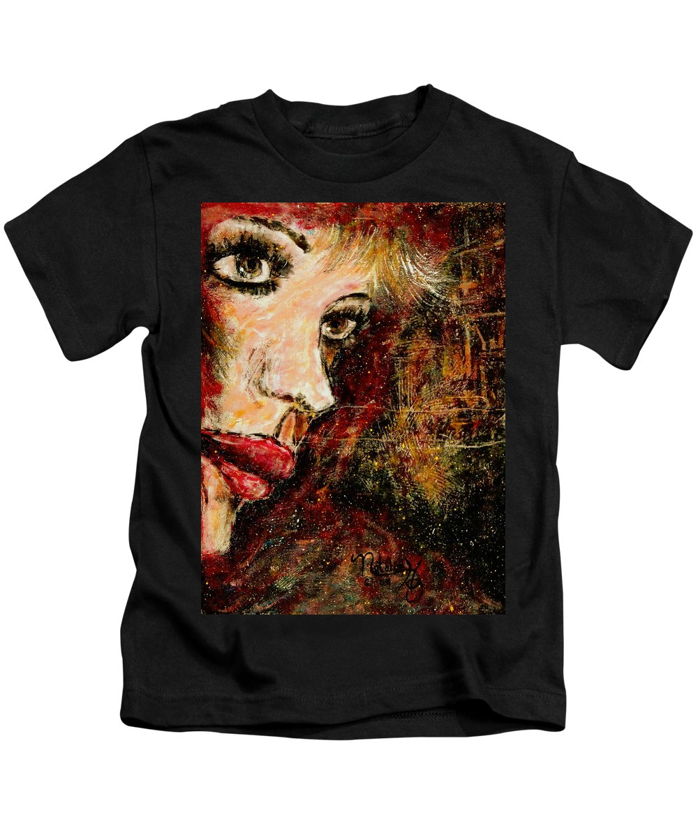 Woman Kids T-Shirt featuring the painting Anxious Expectations by Natalie Holland
