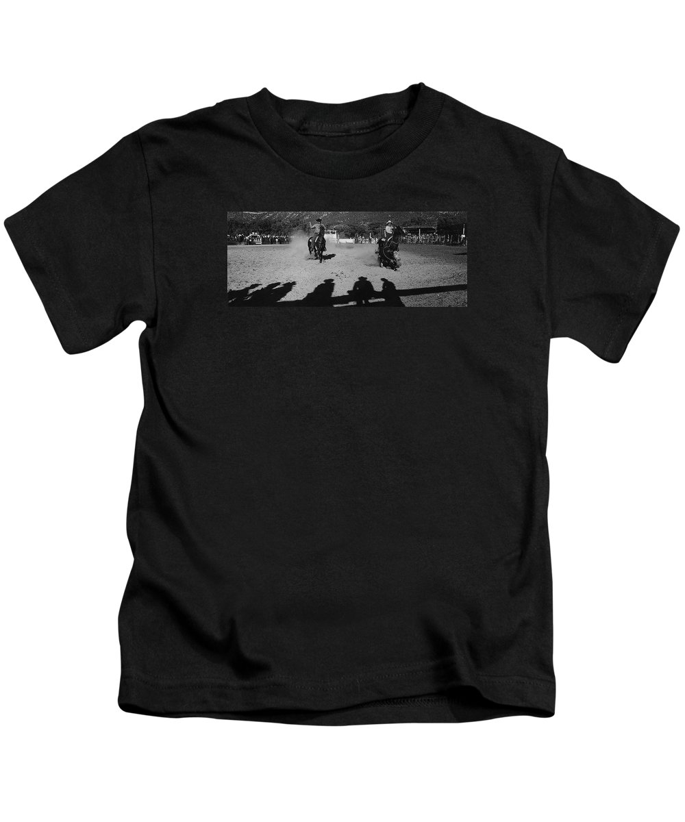 Apache Roping Cow Labor Day Rodeo White River Arizona 1969 Kids T-Shirt featuring the photograph Apache Roping Cow Labor Day Rodeo White River Arizona 1969 by David Lee Guss