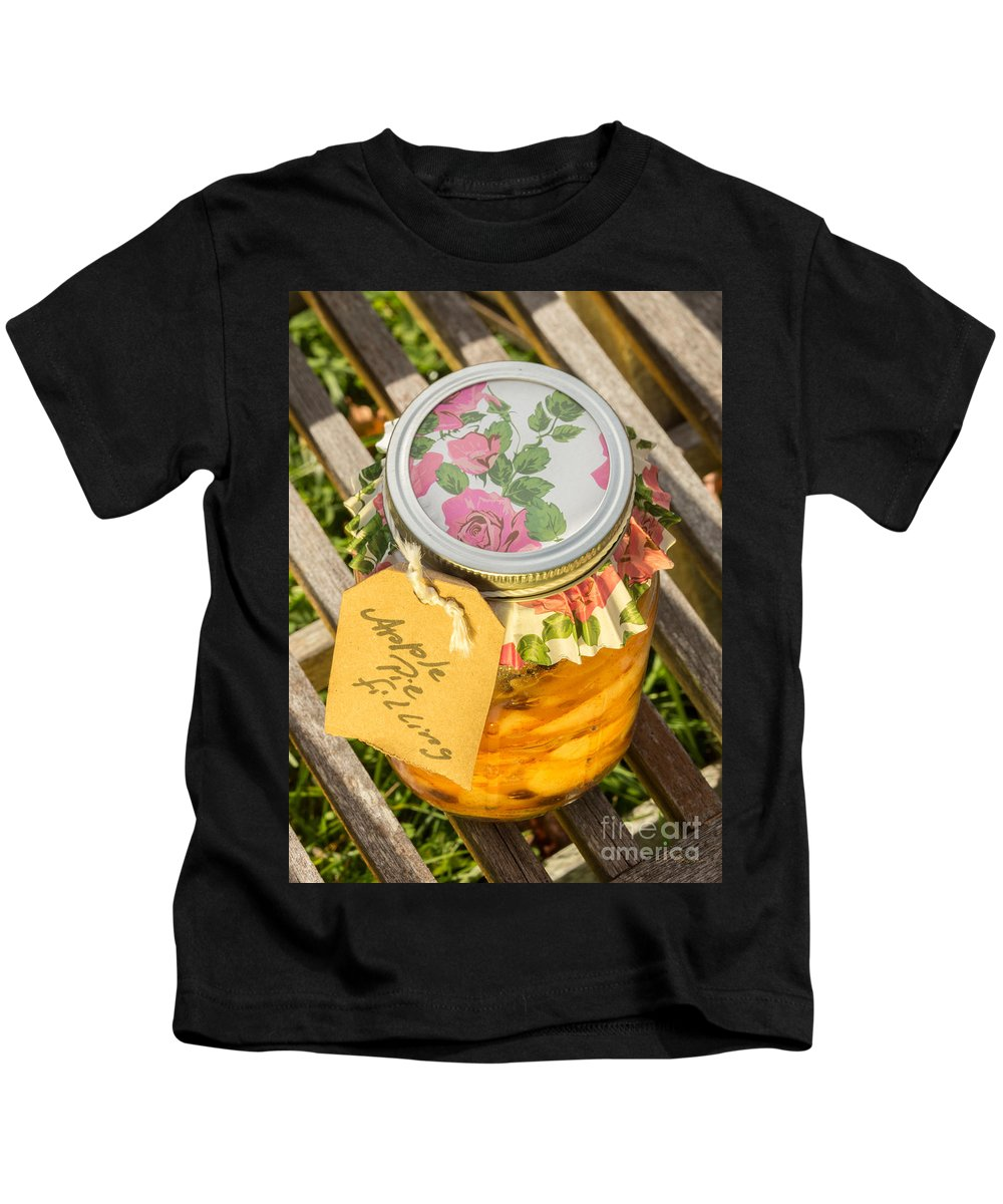 Iris Holzer Richardson Kids T-Shirt featuring the photograph Applepie Filling Canned by Iris Richardson