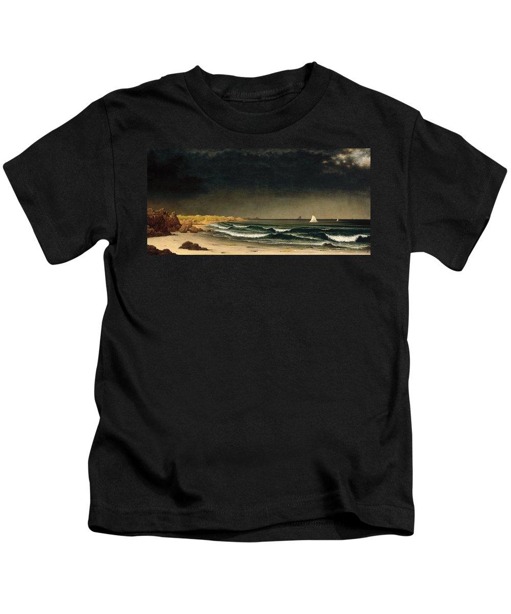 Martin Johnson Heade Kids T-Shirt featuring the painting Approaching Storm. Beach Near Newport by Martin Johnson Heade