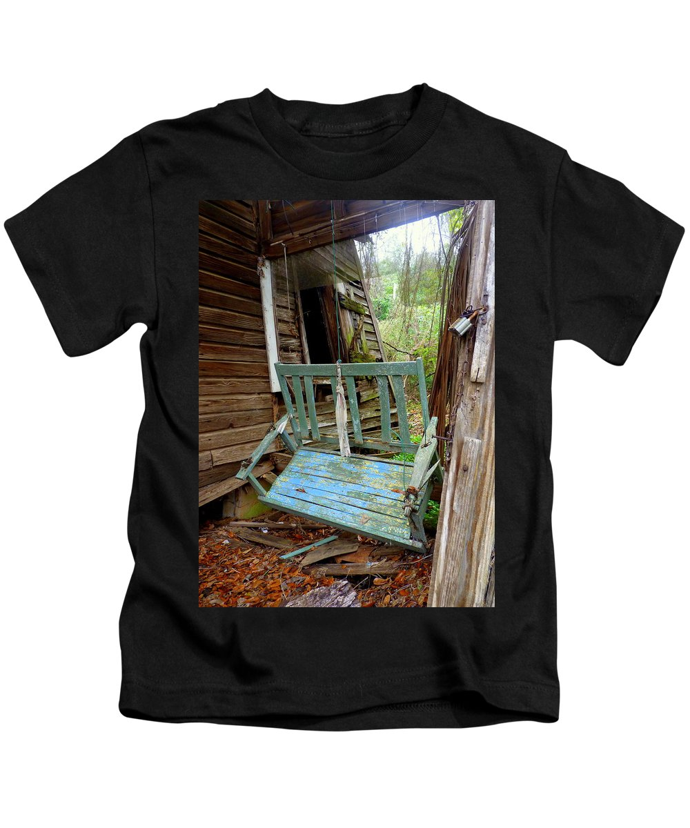Swing Kids T-Shirt featuring the photograph Aqua Porch Swing by Carla Parris