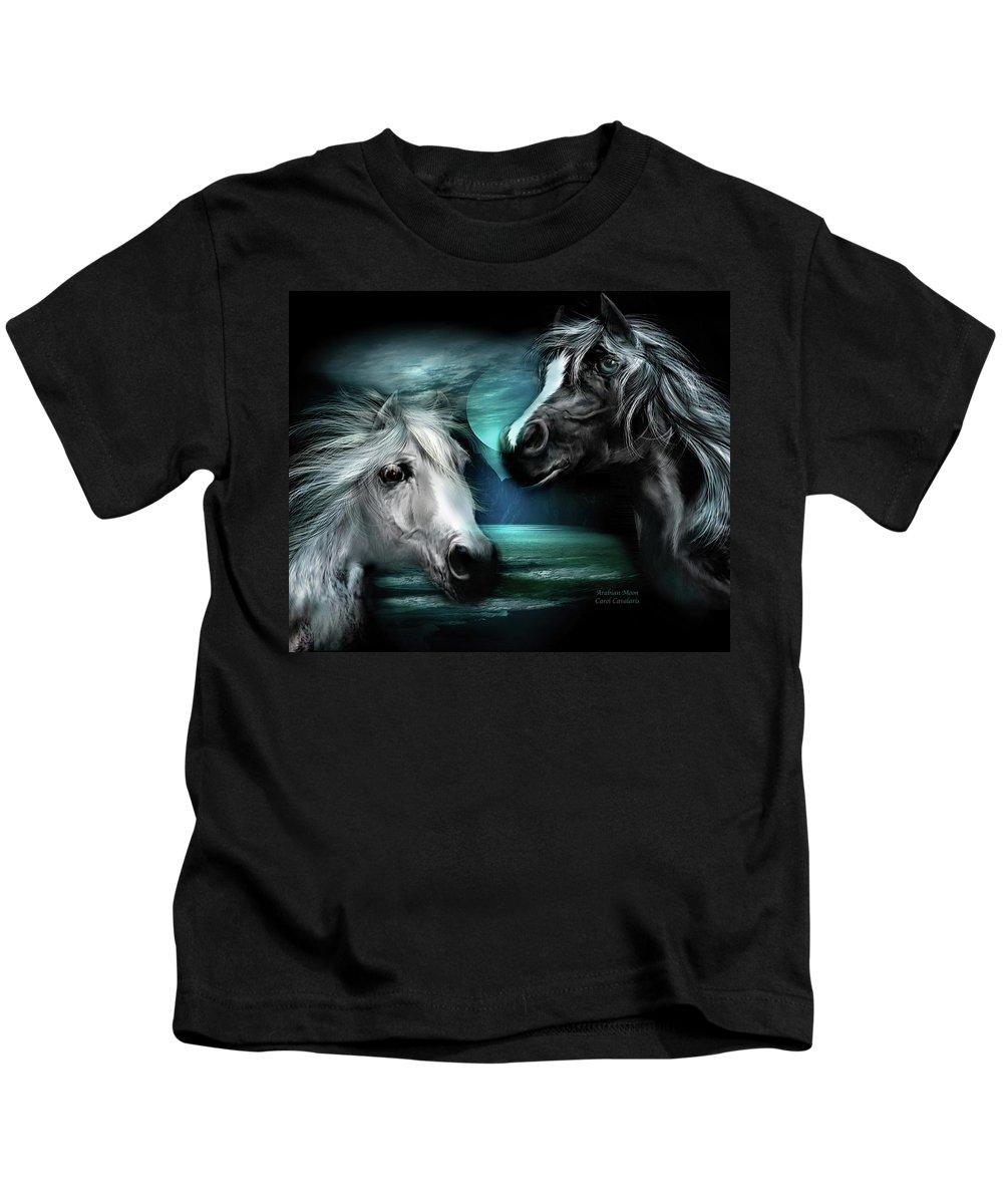 Horse Kids T-Shirt featuring the mixed media Arabian Moon by Carol Cavalaris