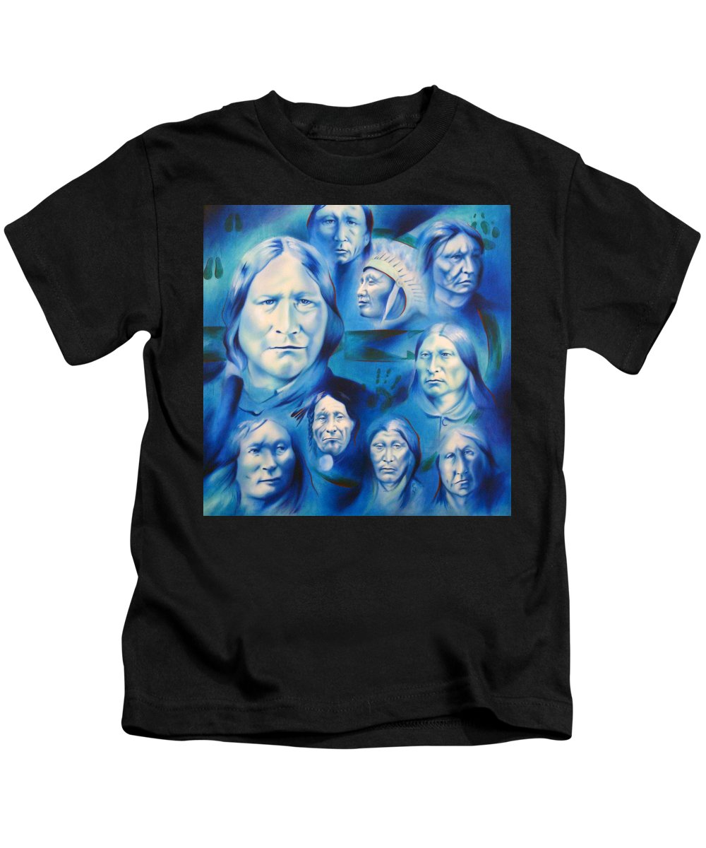 Native American Art Kids T-Shirt featuring the painting Arapaho Leaders by Robert Martinez