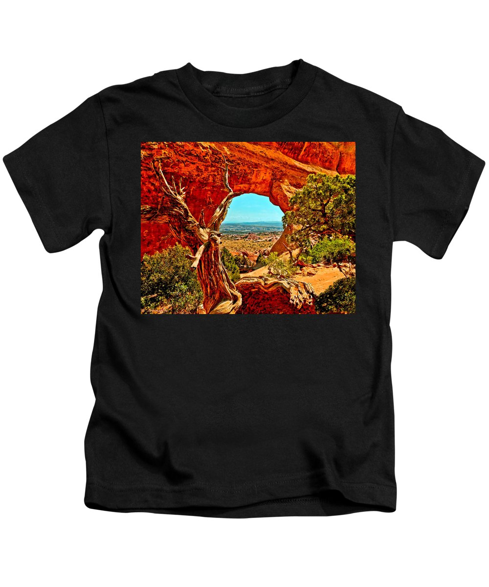 Arches National Park Kids T-Shirt featuring the painting Arches National Park by Bob and Nadine Johnston