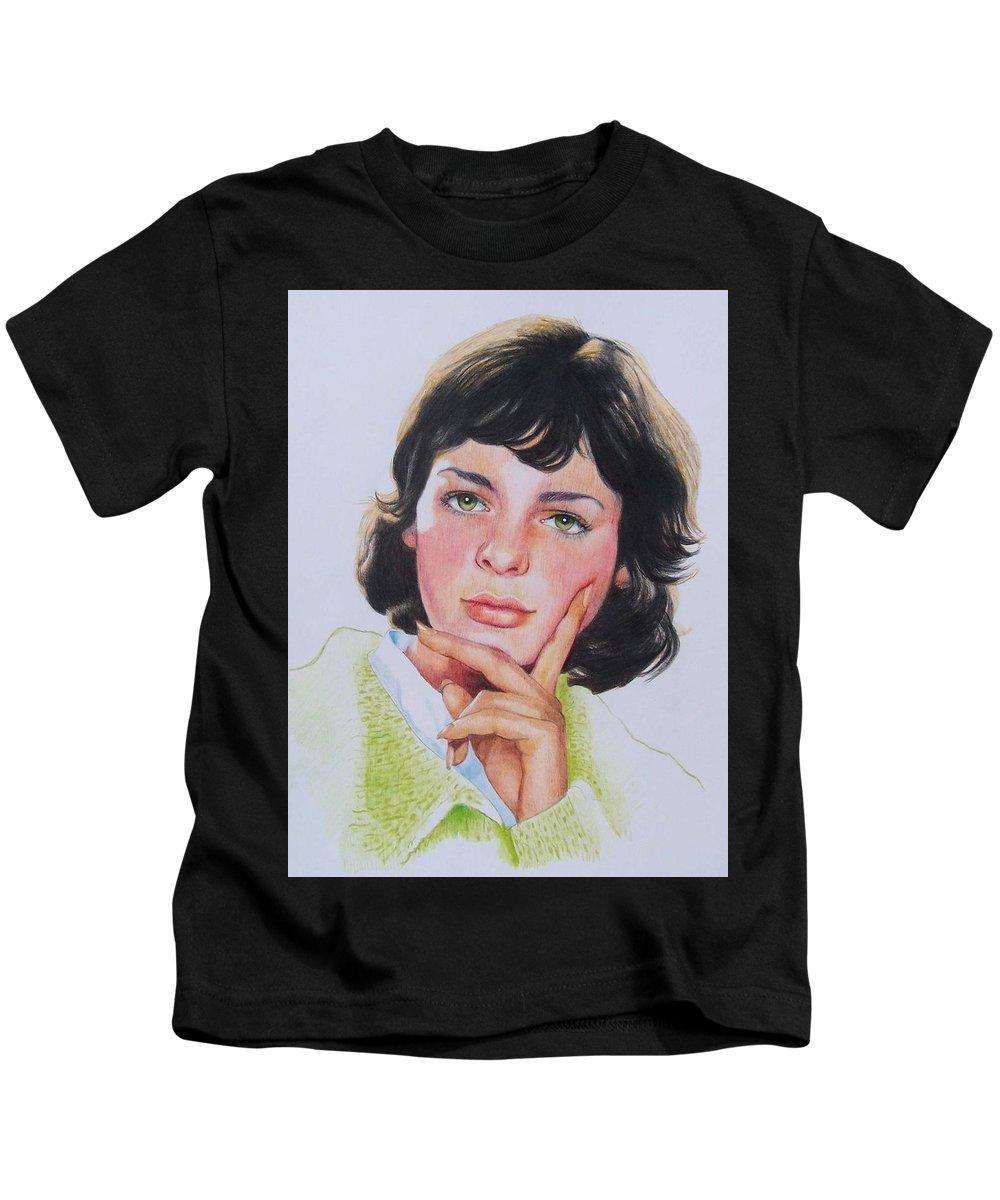 Portrait Kids T-Shirt featuring the mixed media Ariane by Constance Drescher
