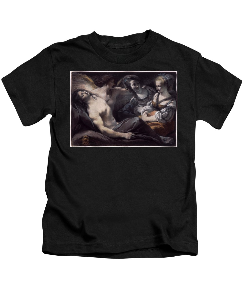 Giuseppe Cades Kids T-Shirt featuring the drawing Armida Gazes On The Sleeping Rinaldo by Giuseppe Cades