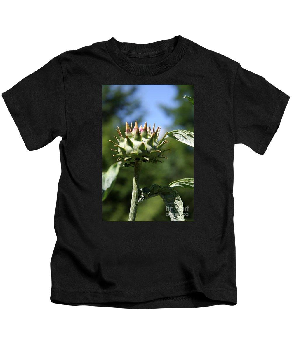 Artichoke Bud Kids T-Shirt featuring the photograph Artichoke Bud by Christiane Schulze Art And Photography