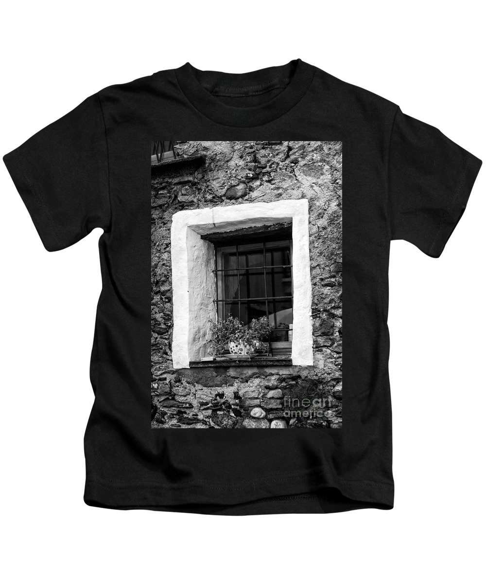 Switzerland Kids T-Shirt featuring the photograph Ascona Window Bw by Timothy Hacker
