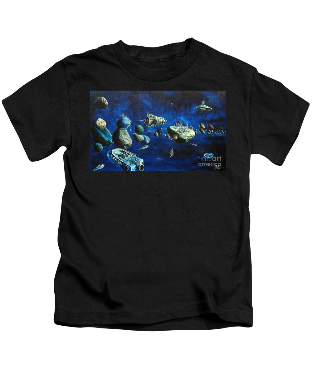 Fantasy Kids T-Shirt featuring the painting Asteroid City by Murphy Elliott