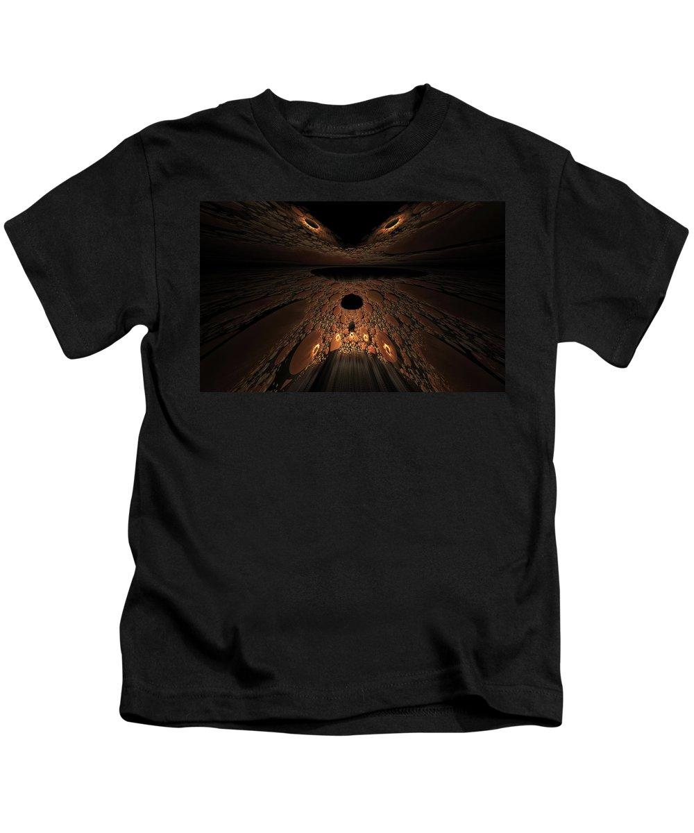 Fractal Kids T-Shirt featuring the digital art Asteroid Rendezvous by GJ Blackman