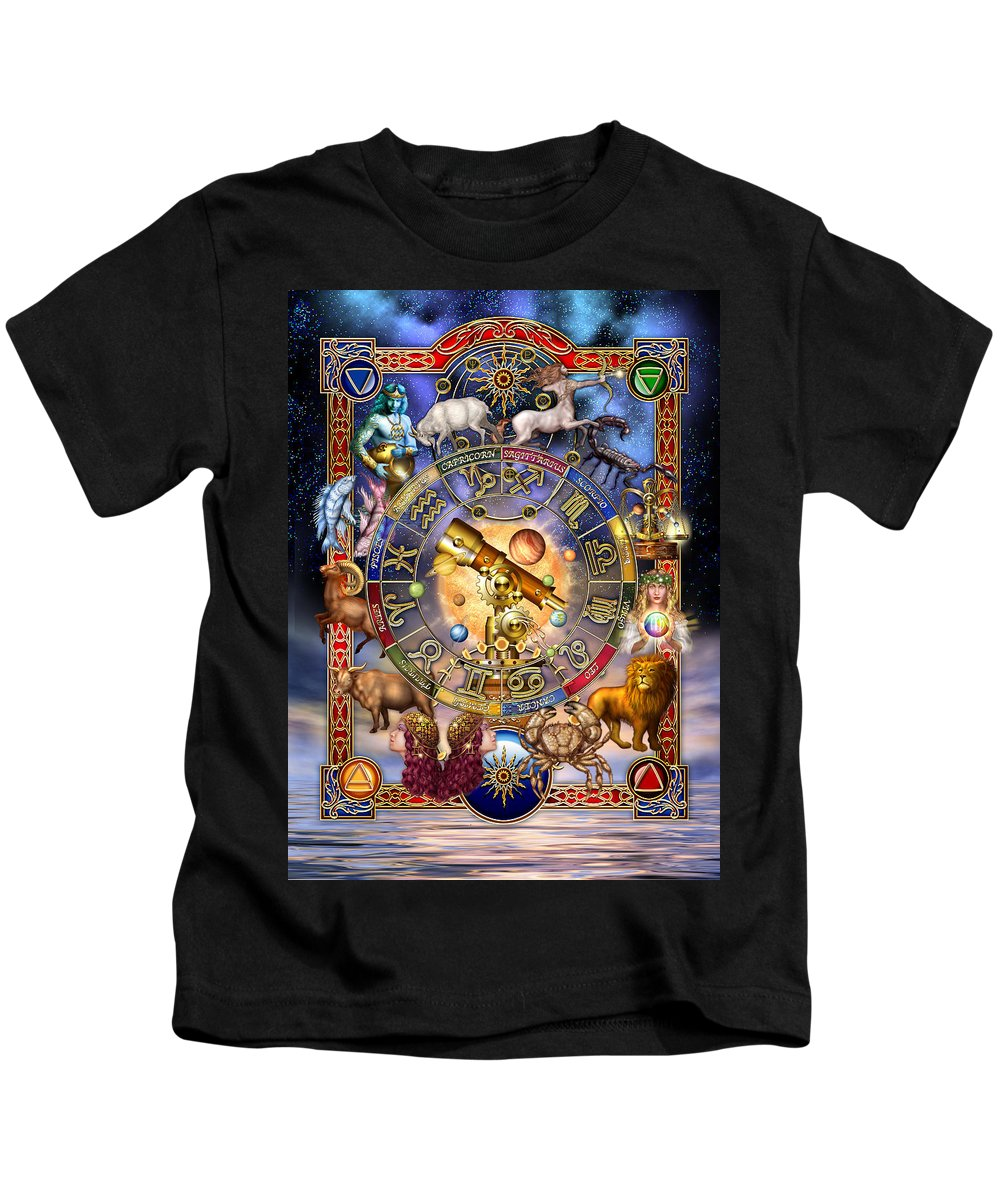 Ciro Marchetti Kids T-Shirt featuring the digital art Astrology by MGL Meiklejohn Graphics Licensing