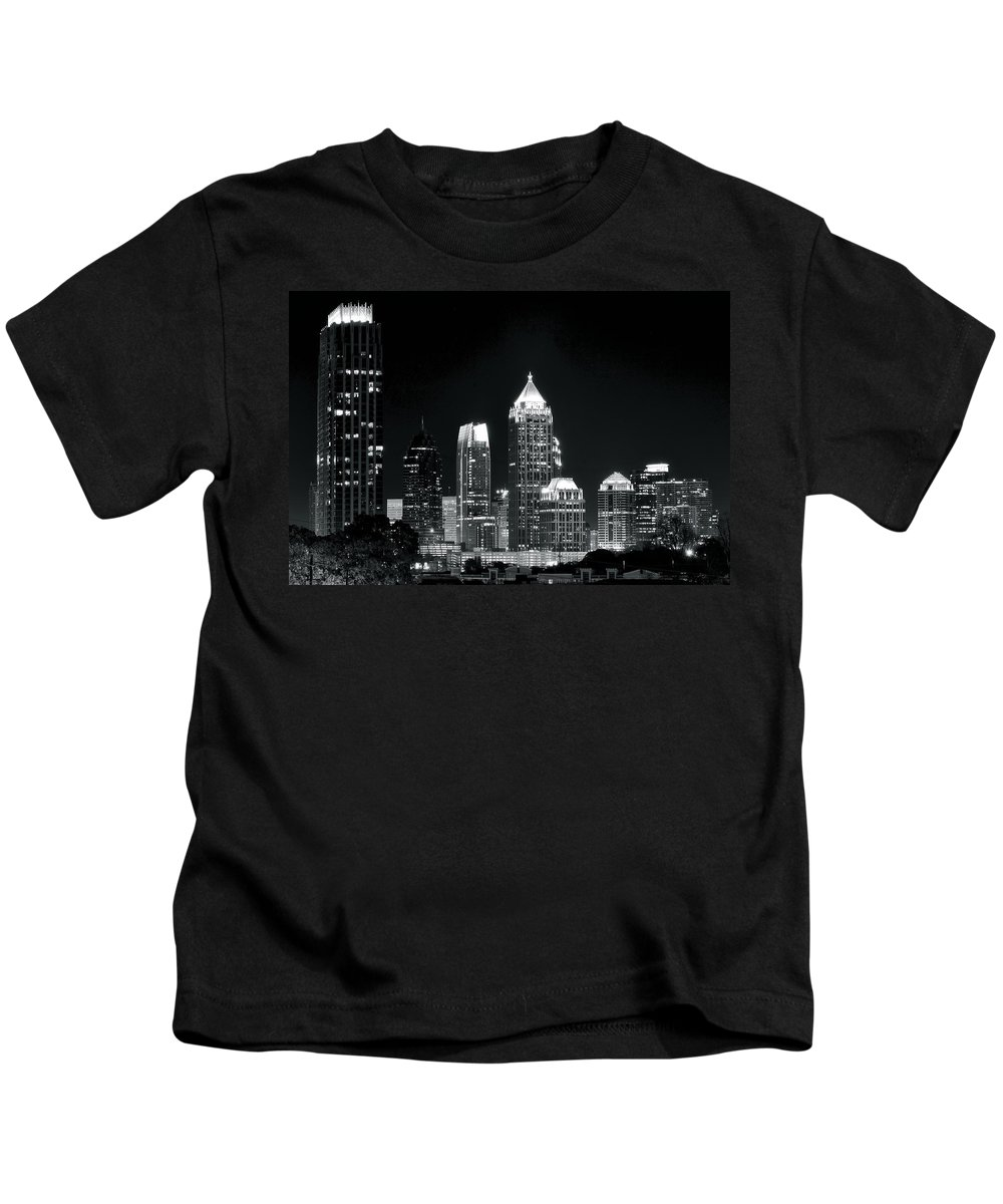 Atlanta Kids T-Shirt featuring the photograph Atlanta Black And White Night by Frozen in Time Fine Art Photography