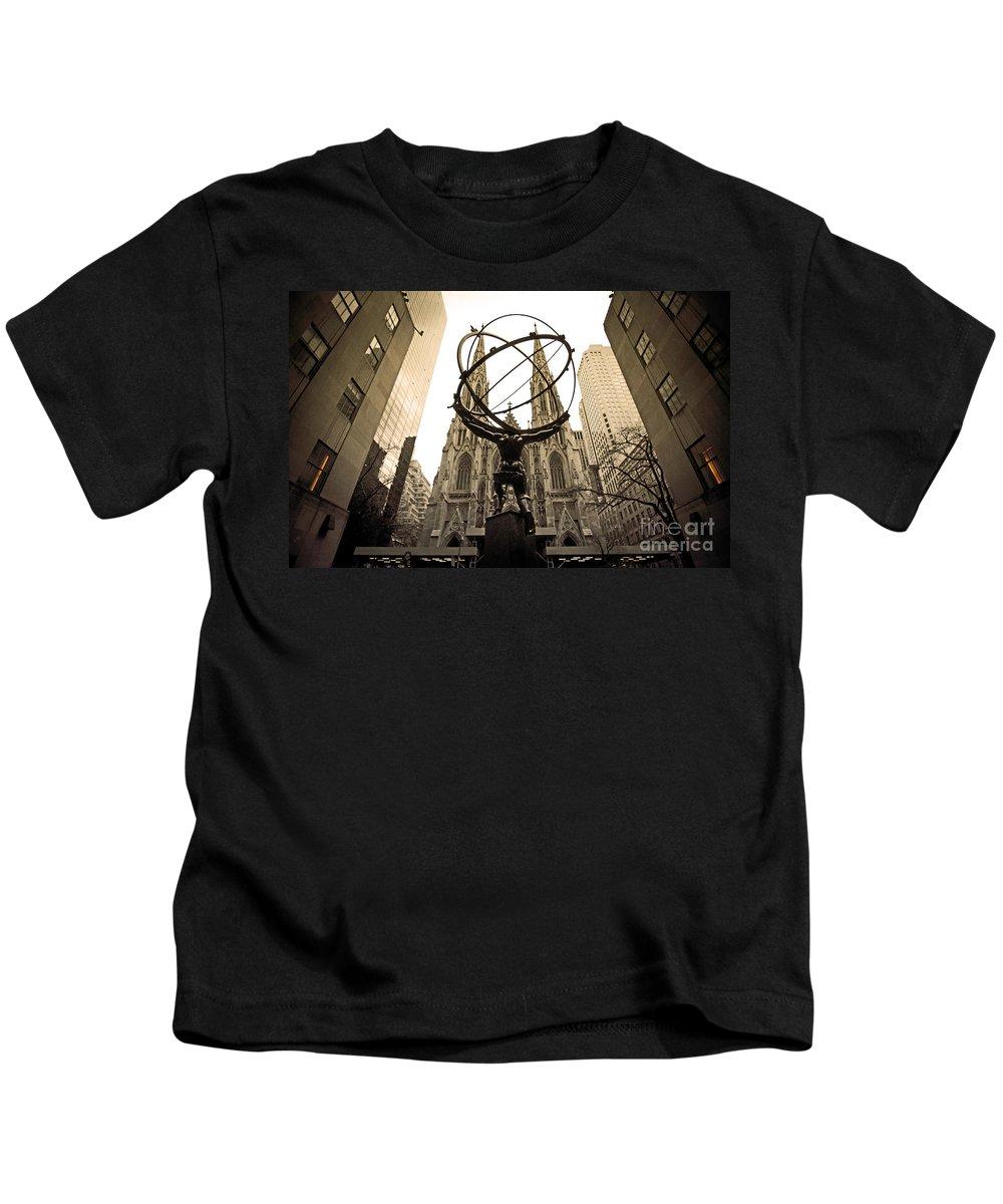 Atlas Kids T-Shirt featuring the photograph Atlas At Rockefeller Center Back Side by Davids Digits