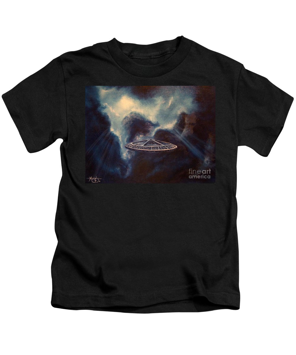 Si-fi Kids T-Shirt featuring the painting Atmospheric Arrival by Murphy Elliott