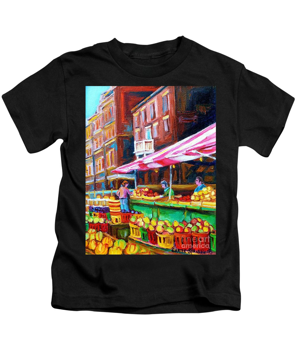 Atwater Market Kids T-Shirt featuring the painting Atwater Market  by Carole Spandau
