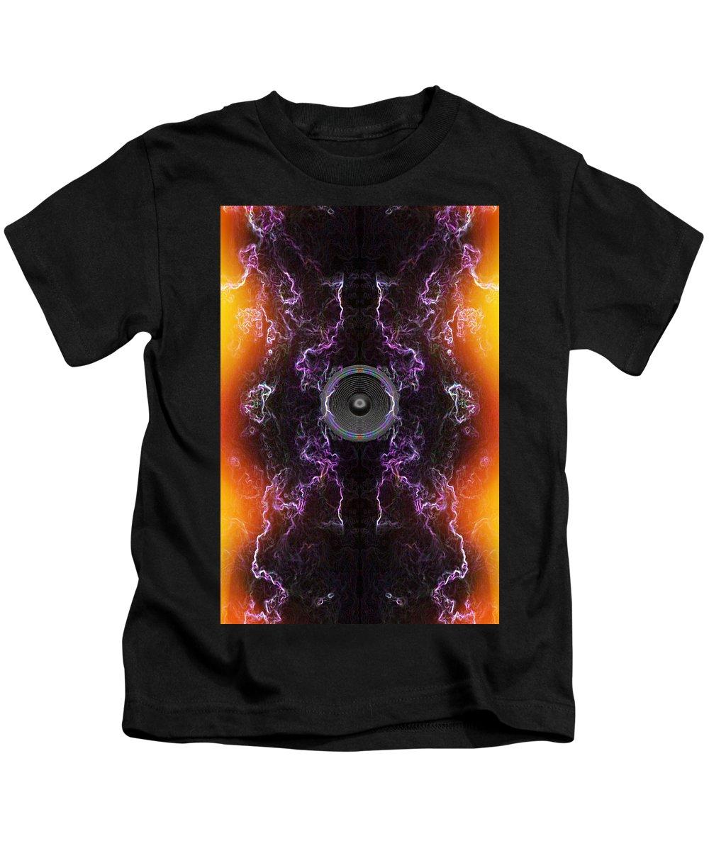 Festival Kids T-Shirt featuring the digital art Audio Purple Orange by Steve Ball