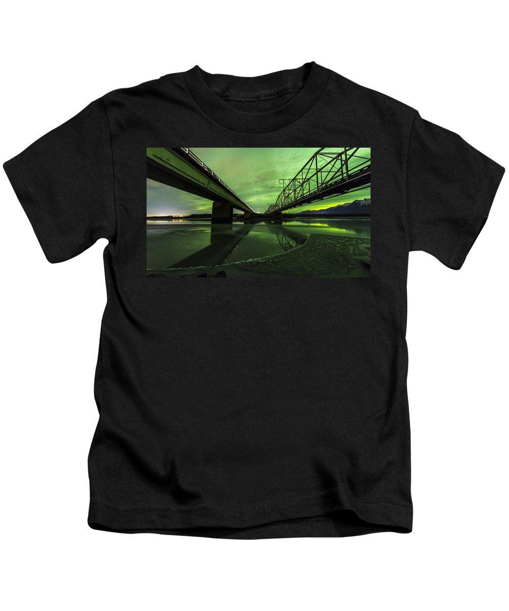 Alaska Kids T-Shirt featuring the photograph Aurora Bridge by Kyle Lavey