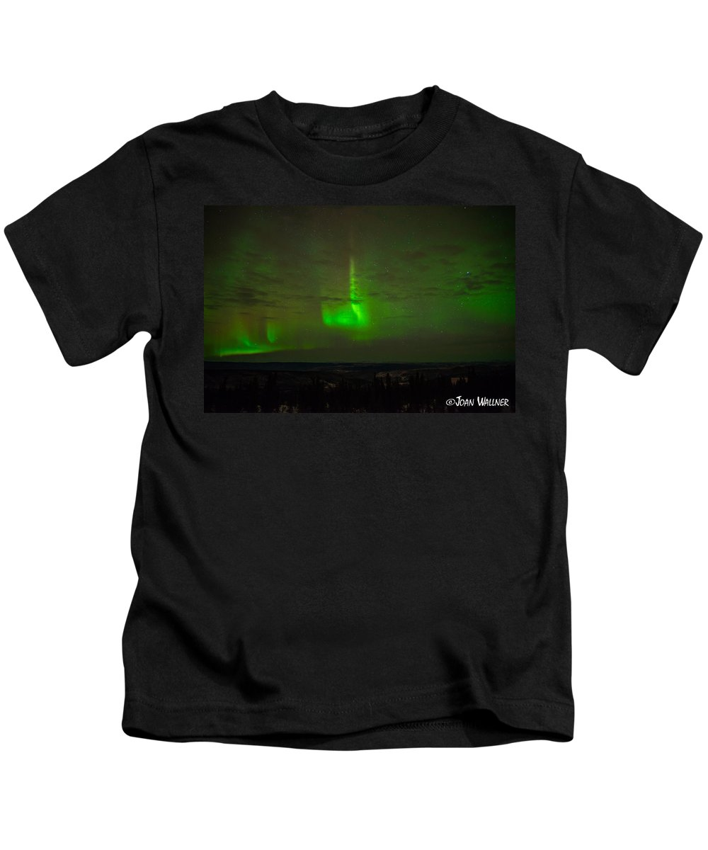 Alaska Kids T-Shirt featuring the photograph Aurora Flare by Joan Wallner