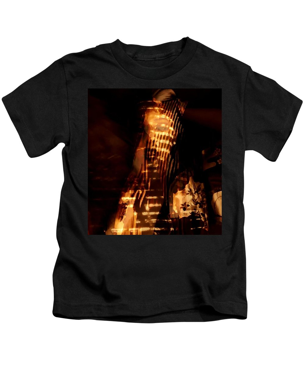 Gold Egyptian Flames Candle Temples Kids T-Shirt featuring the photograph Aurous by Jessica Shelton