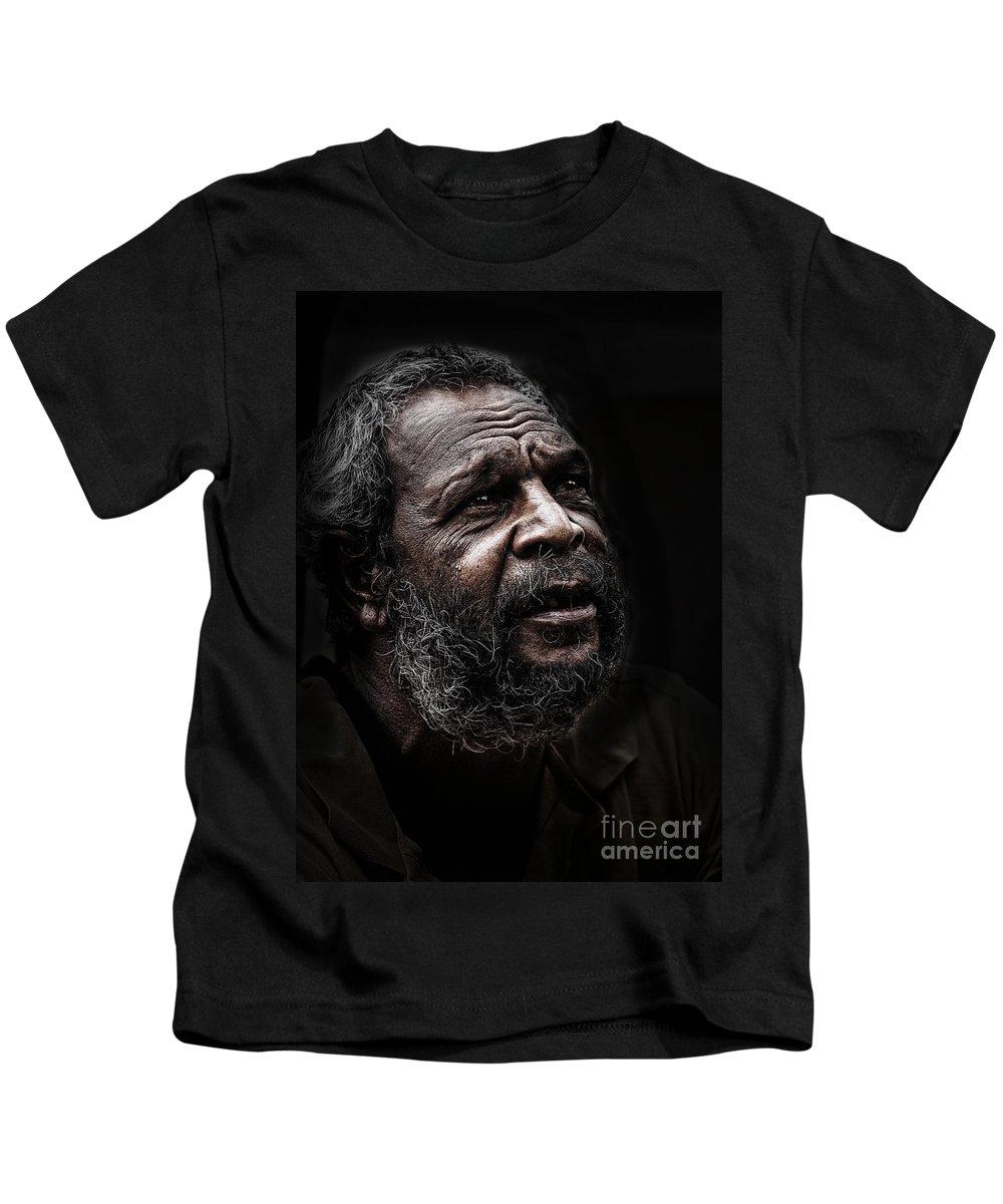 Australian Aboriginal Kids T-Shirt featuring the photograph Australian aborigine by Sheila Smart Fine Art Photography