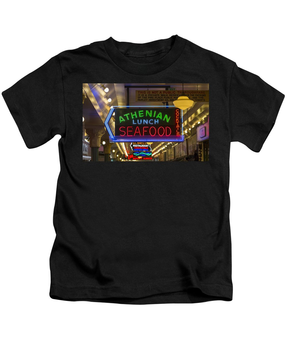 Sign Kids T-Shirt featuring the photograph Authentic Lunch Seafood by Scott Campbell