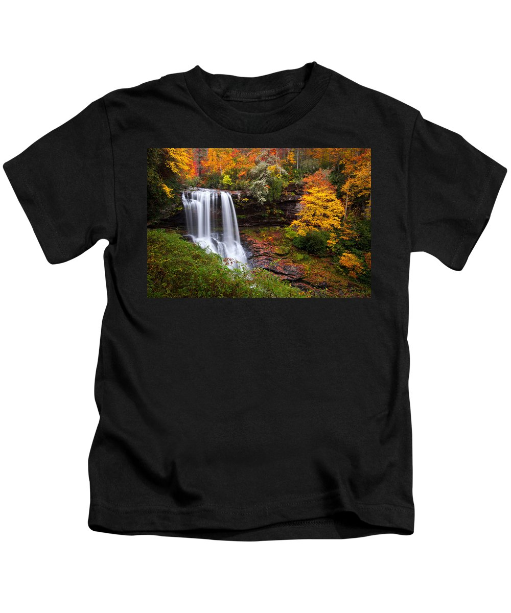 Waterfalls Kids T-Shirt featuring the photograph Autumn At Dry Falls - Highlands Nc Waterfalls by Dave Allen