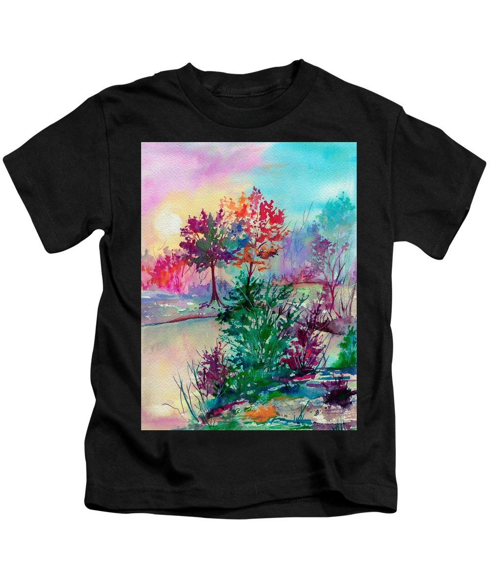 Watercolor Kids T-Shirt featuring the painting Autumn Aura by Brenda Owen