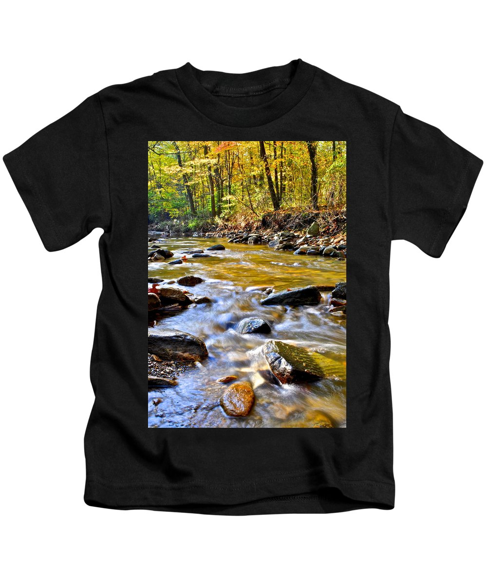Autumn Kids T-Shirt featuring the photograph Autumn Creek by Frozen in Time Fine Art Photography