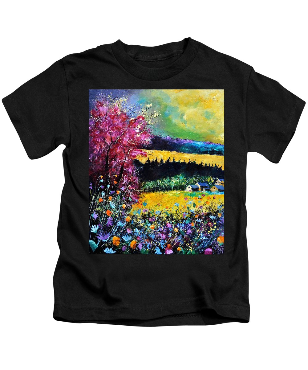 Landscape Kids T-Shirt featuring the painting Autumn flowers by Pol Ledent