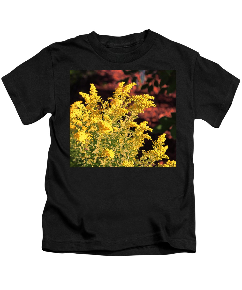 Yellow Foliage Plant Kids T-Shirt featuring the photograph Autumn Glow by Sylvia Thornton