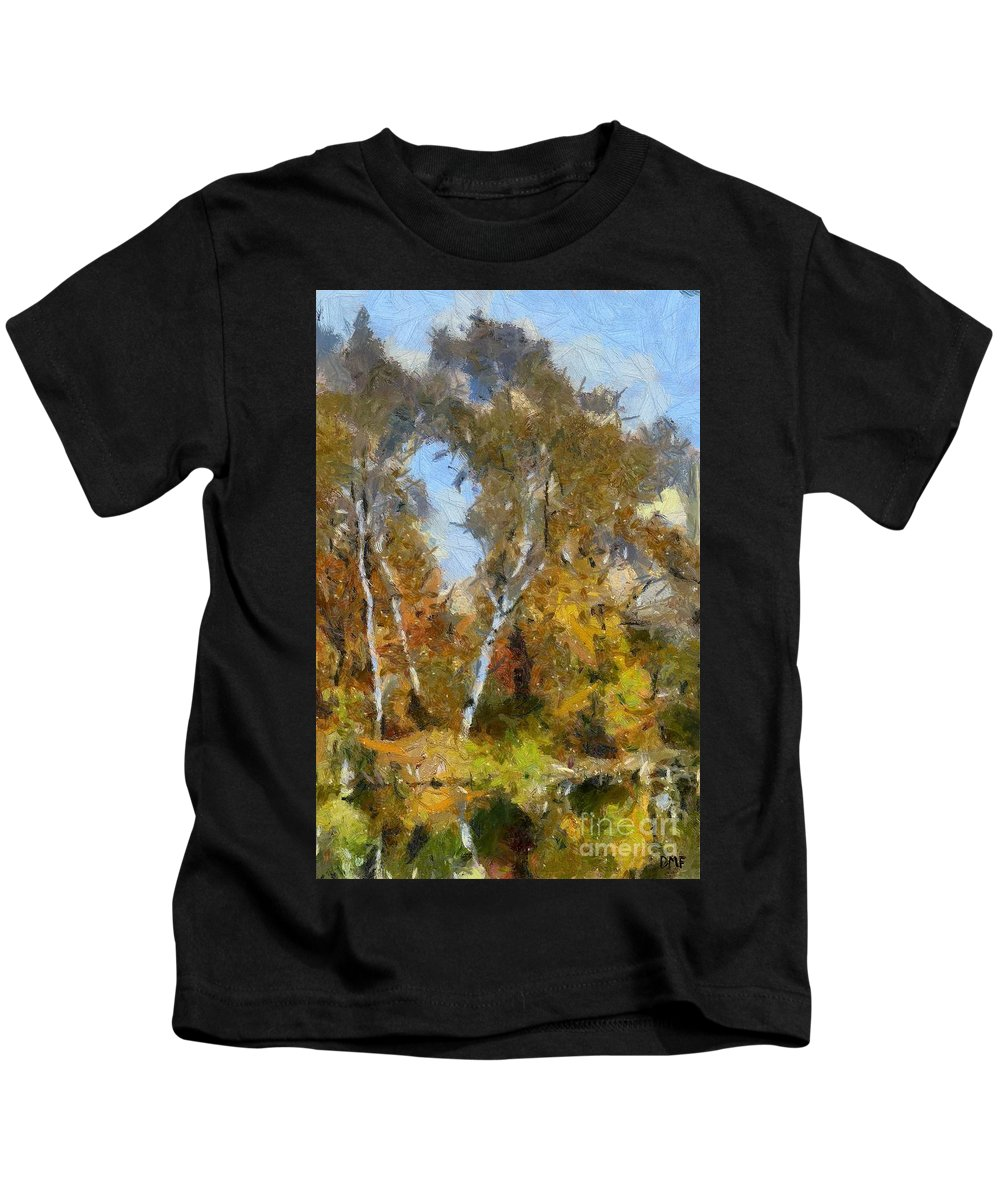 Landscape Kids T-Shirt featuring the painting Autumn In The Marshes by Dragica Micki Fortuna