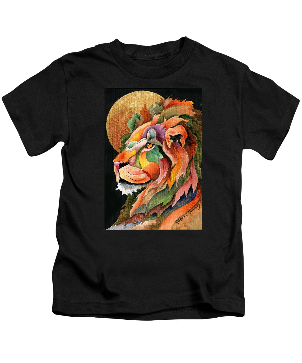 Lion Kids T-Shirt featuring the painting Autumn Lion by Sherry Shipley