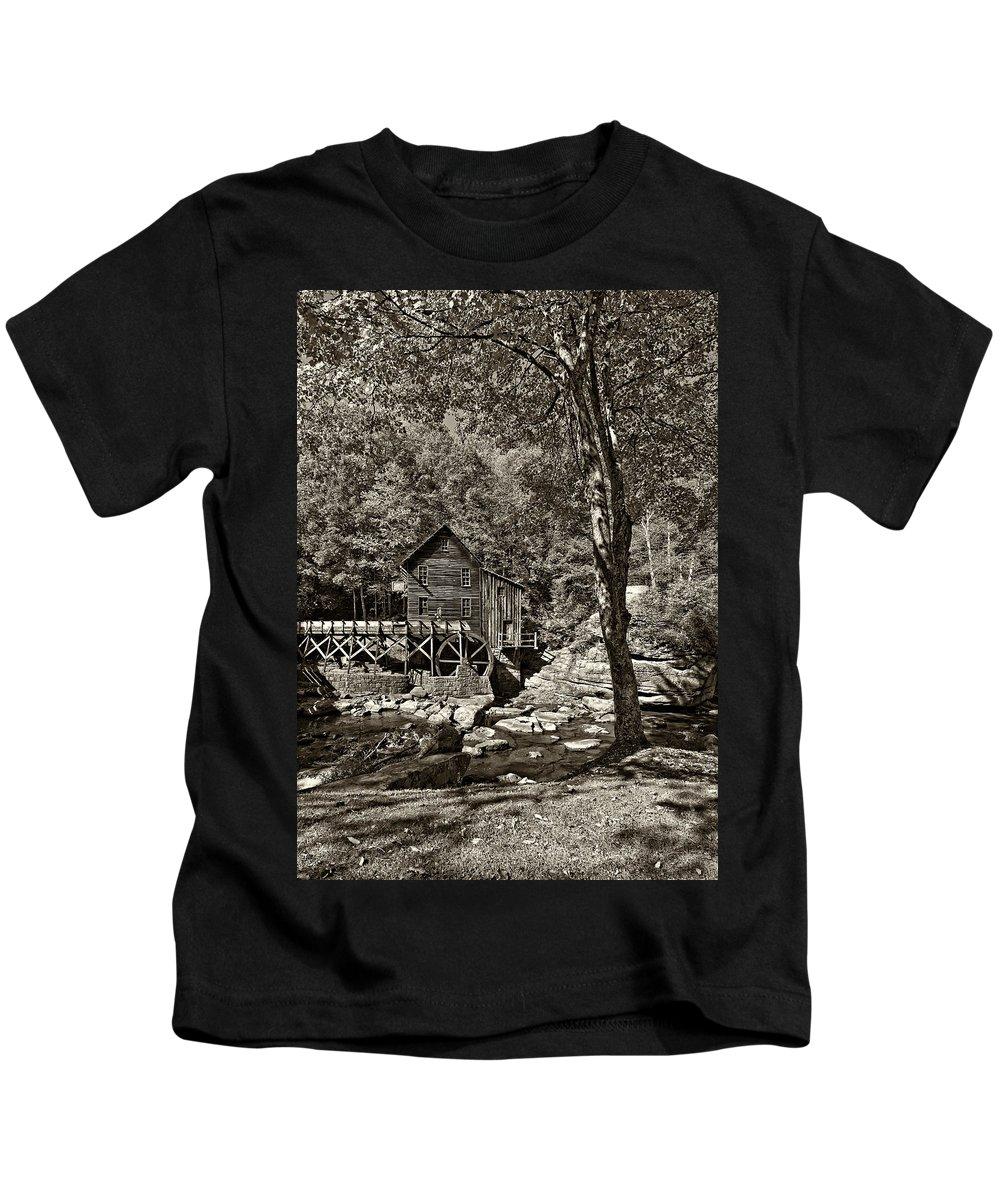 West Virginia Kids T-Shirt featuring the photograph Autumn Mill 2 Sepia by Steve Harrington