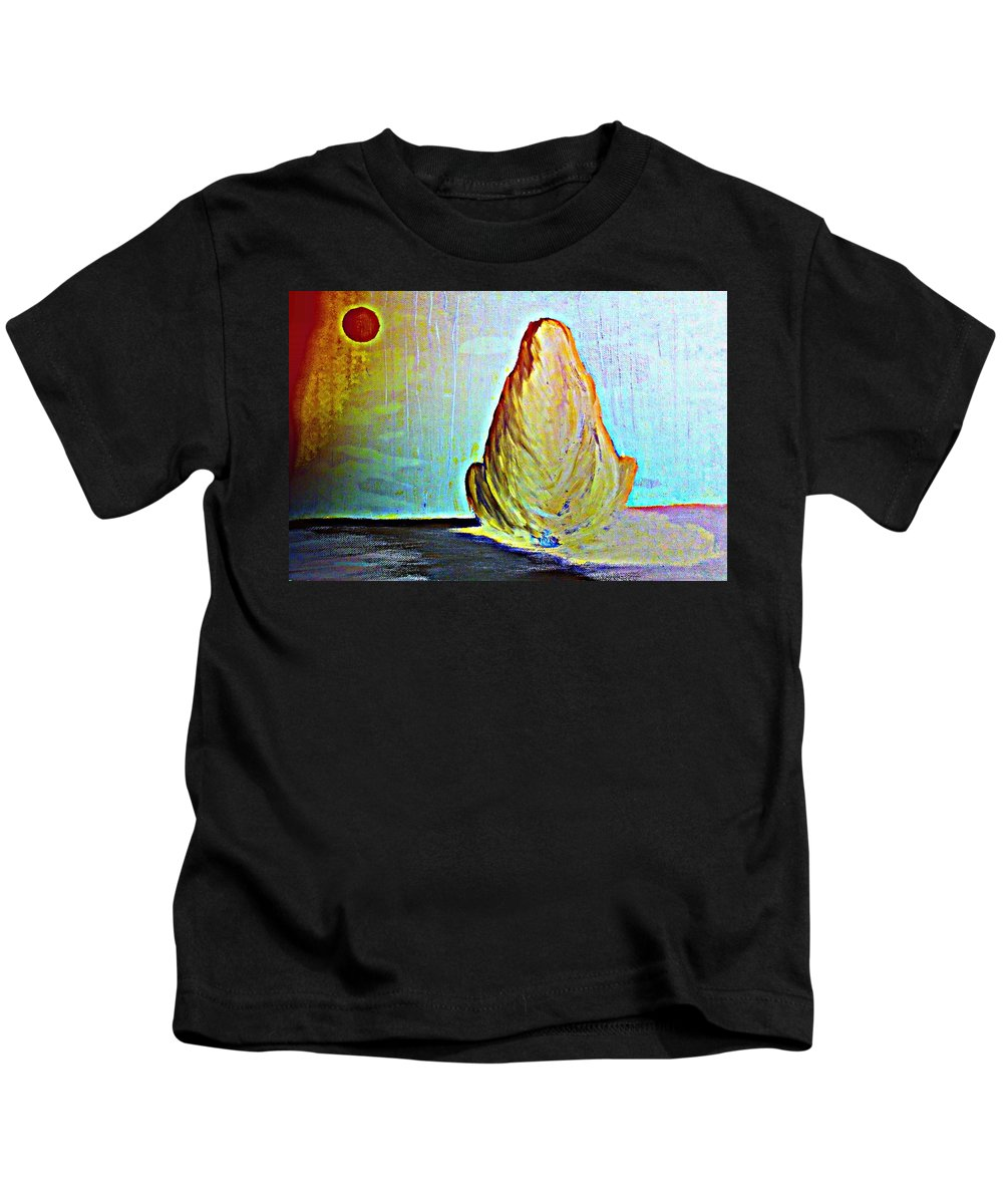 Troll Kids T-Shirt featuring the painting it was a lonely autumn night and I just sat there by Hilde Widerberg